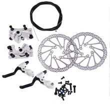 Cycling Bicycle Disc Brakes Set Kit G3 Rotors 160mm Brake Levers Cable(option) Ultra-light Aluminum Single Adjustable Disc Brake(China)