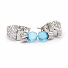 Blue Light Bulb Cufflinks For Men High Quality Brand Cufflink Silver Chain Fashion French Shirt Cuff Links Wedding Groom Gift(China)
