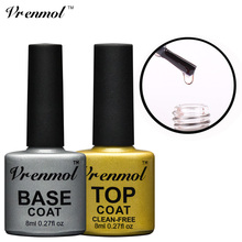 Vrenmol Transparent No Wipe Top Coat + Base Coat Foundation for UV/LED Gel Nail Polish Shiny Sealer Manicure Set Gel Varnish