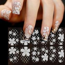 Waterproof White Lace Diamond Flower Stickers Nail Art Tips Women Nail Art Sticker New jan12