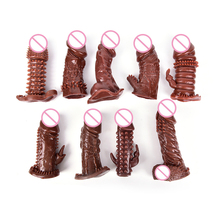 Buy 1PCS 9 Styles Penis Male Delay Long Sleeve Crystal Spike Dildos Vibrating Penis Sleeves Reusable Delay Condom