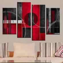 4 Pcs Combined Abstract Canvas Painting Red Black AB With Circle Canvas Home Room Decor Wall Art Picture Modern Poster