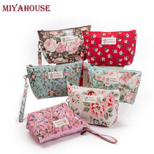 Miyahouse Female Makeup Bags Vintage Floral Cosmetics Pouches For Travel Ladies Pouch Women Portable Zipper Cosmetic Bag(China)