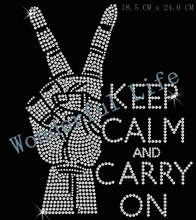 Free shipping keep calm and carry on  hotfix  rhinestone Iron On bling transfer  design motif yeach