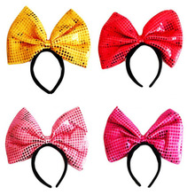 1pcs 4 colors kid's hair accessories party cospaly headband Minnie Mouse Blk Pink Polka Dots Bow Ears Birthday supplies(China)