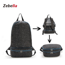 Zebella Black Waterproof Mochila Folding Backpack Portable Waist Bag Bolsa Feminina Carteira Masculina Fashion Lightweight Bag