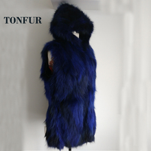 Hood New Arrival Real Raccoon Fur Vest with Hoody Women Factory Wholesale Price Hot Sale WSR95
