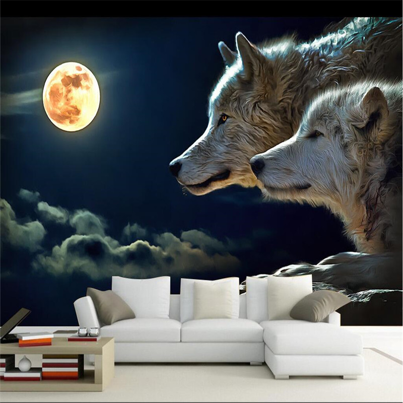 wall decor paper 3D Night bright round moon wolves attack room dining room hotel wall covering murals-3d wall paper home decor<br><br>Aliexpress
