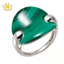 Hutang 100% Natural Fashion Cut Green Malachite Solid 925 Sterling Silver Ring Fine Jewelry One of a Kind Unique Style(China)