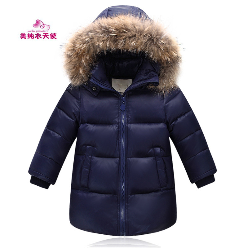 2017 Winter Boys Girls mid-Length White Duck Down Jacket Children Casual Warm Fur Hooded Jackets / Coats 4 6 8 9 10 11 12 Years<br>