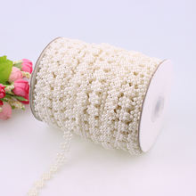 50M/Roll White Beige 7mm Pearl Flower Cup Chain DIY Wedding Accessories Decoration Sew On Bridal Holding Sun Flowers Beads Chain