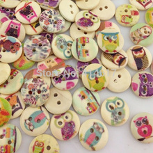 Free Ship 50pcs Mixed Owl Pattern Wooden Buttons Fit Sewing and Scrapbook 15mm WB61