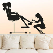 Free shipping DIY vinyl Nail Art  Wall Decal Sexy Girl Nail Hair Salon Woman Beauty Salon Shop Window Glass Sticker Decoration