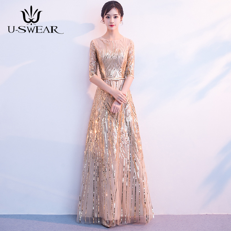 U-SWEAR New Fashion O-Neck Half Sleeve Evening Dresses Party Prom Formal Gowns Slim Elegant Long Sequin Vestidos Robe De Soiree