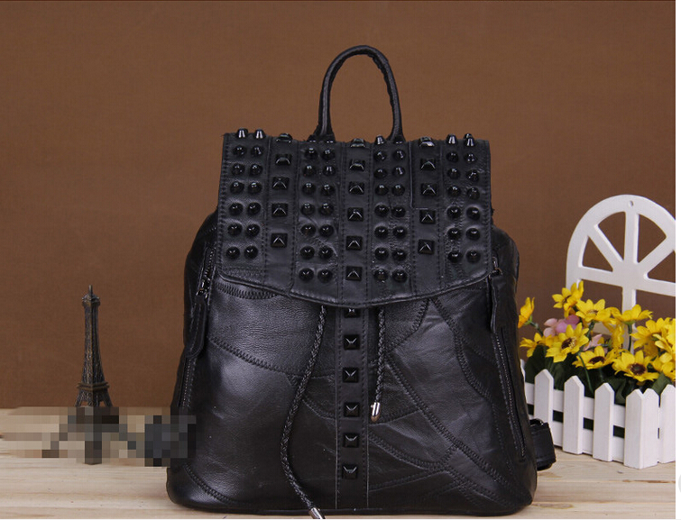 Autumn new design Korean style rivet sheepskin female backpack multi-function womens genuine leather bag<br>