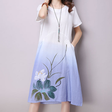 Buy KYMAKUTU Gradient Color Vestidos Mujer New Fashion Print Robe Femme Line Casual Summer Women Clothes Linen Dress Pockets for $17.51 in AliExpress store