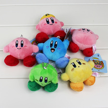 6cm Free Shipping 6Pcs/Set Super Mario Kirby Plush Doll Toys With Keychain Pendant Stuffed Soft Cute Dolls Toy
