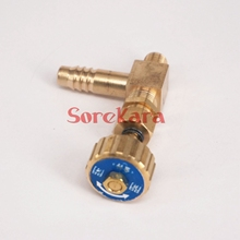 Elbow Brass Needle Valve with spring M10x1mm Metric Thread to 10mm I/D hose barb Max Pressure 0.8 Mpa for gas(China)