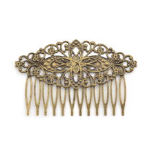 Lychee  Retro Vintage Antique Bronze Women Hair Comb Hollow Floral Shape Hair Comb Headwear Accessories