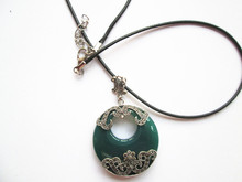 925 sterling silver pendant Thai silver natural green agate pendant locket female ruby pendant(China)