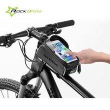"Rockbros Road Mountain Bike Bag Waterproof Cycling Front Tube Frame Bag 6.0"" Touchscreen Bicycle Bag Pannier Bike Accessories"