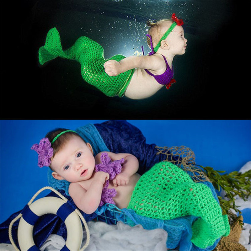 3 pcs Crochet Pattern Green Mermaid Baby Girl Photography Props Newborn Knit Photo Props Costume Animal Style Outfit 1set(China (Mainland))