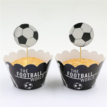 wholesale football/soccer cupcake wrappers toppers cake birthday party baby shower decorations supplies favors for kids boys