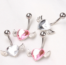 CHeap sales new style wing with lovely heart 2 color choose dancing girls belly button rings navel piercing body chain