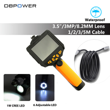 DBPOWER NTS200 3.5 LCD 3MP 720P HD Borescope USB Endoscope 8.2mm 1/2/3/5M Probe 6 Led 4X Zoom Inspection Video Cam 360 Degree