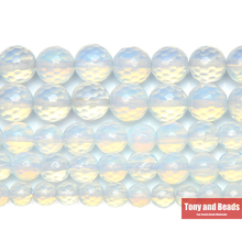 "9th Aug Free Shipping Natural Stone Faceted White Opalite Quartz Loose Beads 15"" Strand 4 6 8 10 12 MM Pick Size For Jewelry"