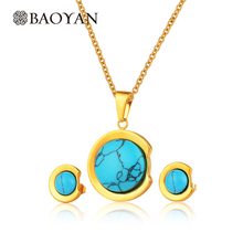2016 Blue Stone Turquoise Jewelry Set For Women Gold Color Stainless Steel Pendant And Earring Fashion Jewelry Sets Gift N2