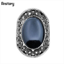 Buy Hollow Flower Oval Stone Rings Women Vintage Antique Silver Plated Fashion Jewelry TR410 for $1.29 in AliExpress store