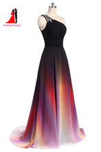New One Shoulder Ombre Long Prom Dress Black Pink Gradient Evening Prom Gowns With Beads Wedding Party Gowns(China)