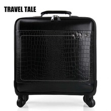 "TRAVEL TALE 16""18""20""22inch Black Leather Trolley Luggage suitcase Business Trolley Case Men's Suitcase Travel Luggage(China)"