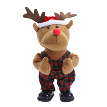 New Xmas toy Cute Deer Shape Cloth Dolls batteries Pack Electric Dolls Pillow Stuffed Doll Toys Kids Children Gift