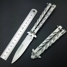 Butterfly in Knife Silver Titanium Coated Training Folding Knife Butterfly Not Sharp Butterfly Balisong No Edge Practice Tools