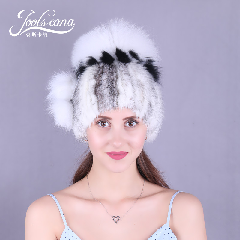 Joolscana winter fur cap women hat real mink fur with fox pompom new fashion brand good gift for women warm beanies