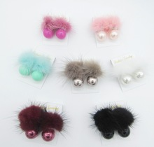Immitation Cony Hair and Round Pearls Fashion Stud Earring Designs