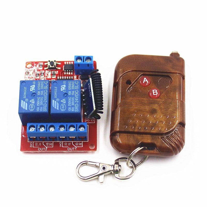 24V 2 Channal Interruptor RF Wireless Remote Control Light Switch Receiver Relay Module 433MHz<br><br>Aliexpress