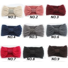 New Fashion European Handmade Knitted Wool Headband With Center Sequins Autumn Winter Warm Ear Elastic Hair Band For Women Adult