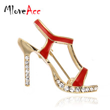 MloveAcc High Heels Shoes Brooch Crystal Red Enamel Sandals Brooches Corsage Clips for Suit Scarf Dress Women Girls Jewelry Pins(China)