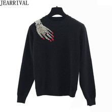 2017 New Winter Women Knitted Sweater Brand Fashion Finger Diamond Beading Long Sleeve Pullovers Luxury Sweaters Pull Femme(China)