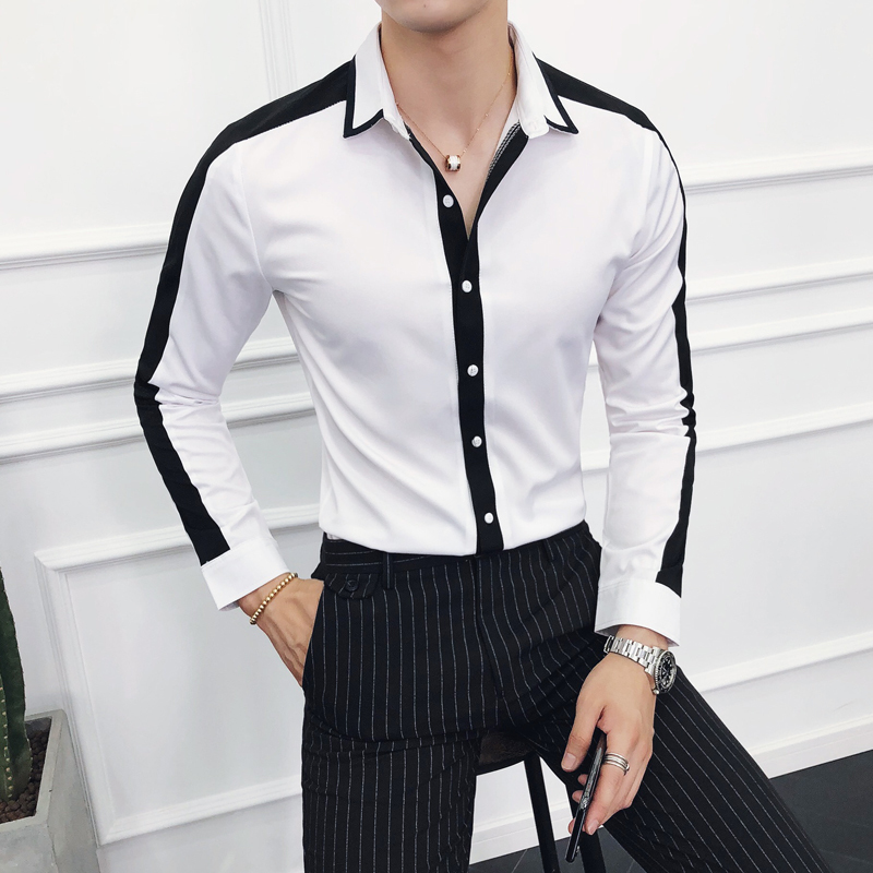 New Men Dress Shirt Long-sleeved Slim Fashion Contrast Color Stitching Temperament British Wind Social Business Casual Shirt