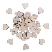 50pcs Heart Shaped Fashion Nature Mini Wooden Love Heart Shapes Gift Making Decor Scrapbooking Craft Wood Craft Wedding Decor(China)