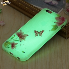 KISSCASE Luminous Case For iPhone 6 6s Plus Soft TPU Butterfly Flower Shell Ultra Thin Glow Back Cover For iPhone 7 7 Plus Cases(China)