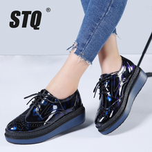 STQ 2017 Autumn women flat platform shoes Brogue Patent Leather lace up flats shoes female casual creepers shoes C12(China)