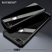Roybens Luxury Full Protection Case For iPhone 6 7 6S Plus 360 Degree Case Bling Mirror Metal Plating Tempered Glass Coque Funda(China)