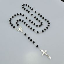 Catholic Religious Women Silver Plated Christian Virgin Mary Rosary Necklace Jewelry Black Crystal Prayer Beads(China)