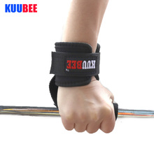 KUUBEE 1 pair Weight Lifting help Gloves Chin Up Supporters Grip Barbell Pads Straps with Wrist Support