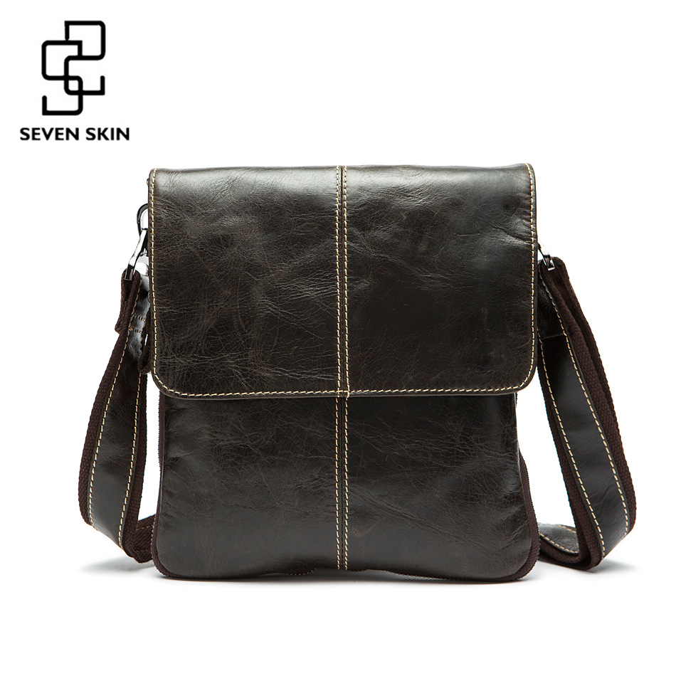 100% Genuine Leather Mens Messenger Bags Vintage Design Men Fashion Small Bag Male Casual Business Shoulder Crossbody Bags Flap<br>